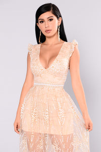Wonderland Glitter Dress - Nude
