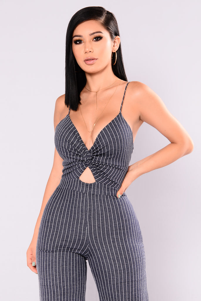 Captain Striped Jumpsuit - Denim
