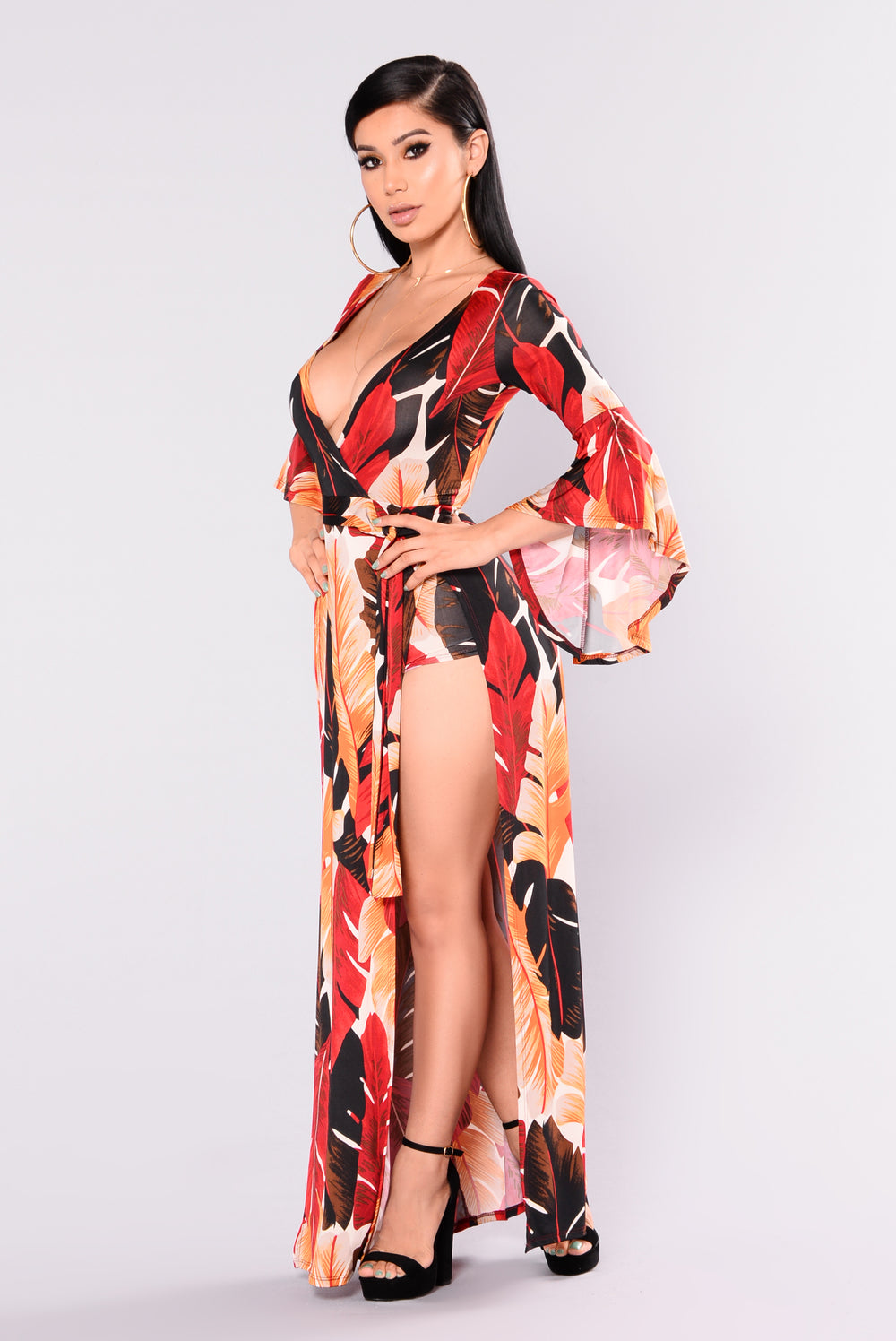 Arisha Tropical Dress - Red Multi