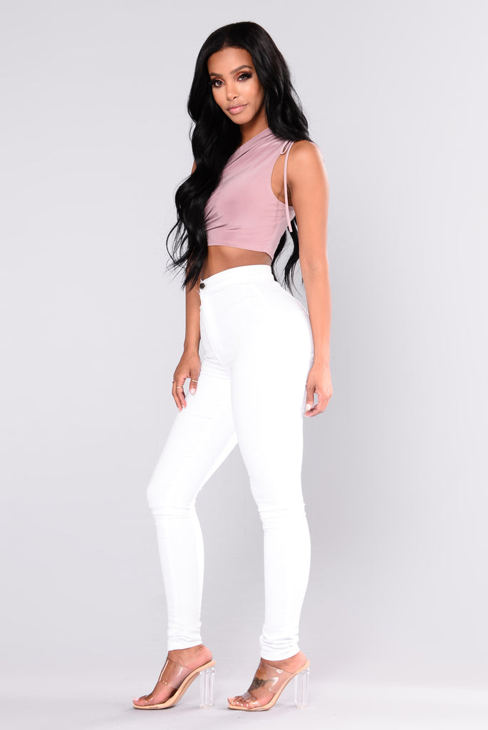 Blake One Shoulder Crop Top - Mauve
