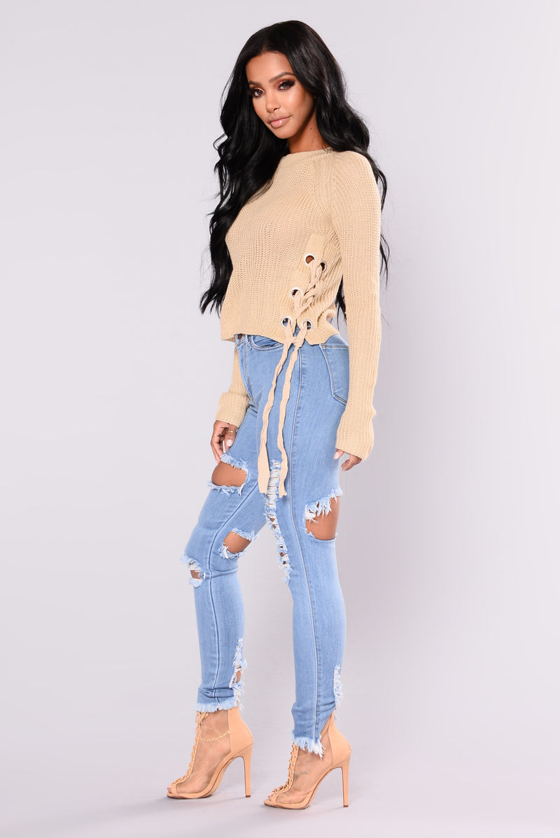 Miranda Lace Up Sweater - Khaki