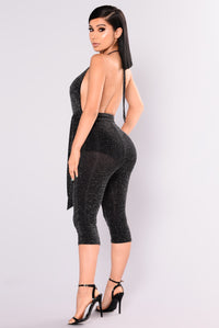 Night Out Metallic Jumpsuit - Black