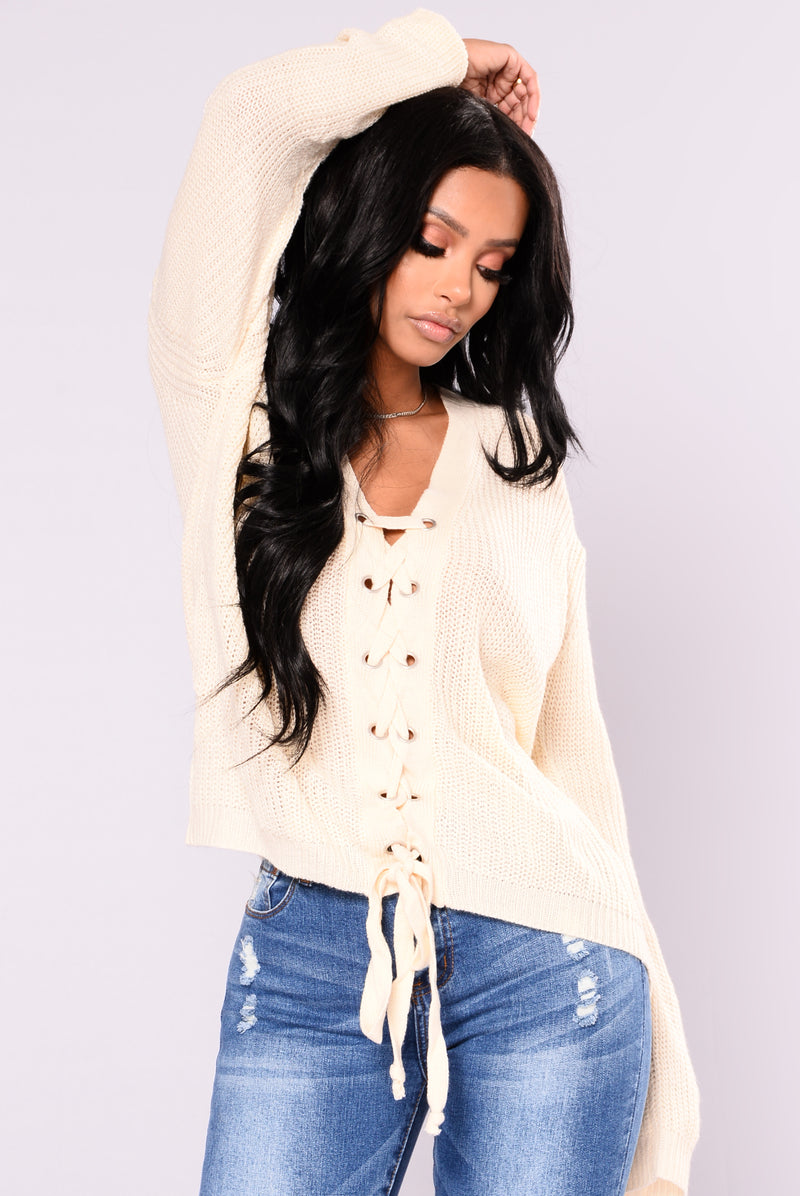 Elara Lace Up Cardigan - Cream