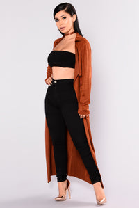Ellis Suede Duster Jacket - Rust