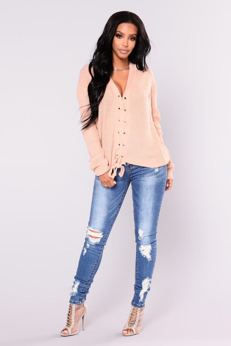 Elara Lace Up Cardigan - Rose