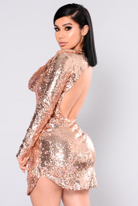 Expose Sequin Dress - Rose Gold