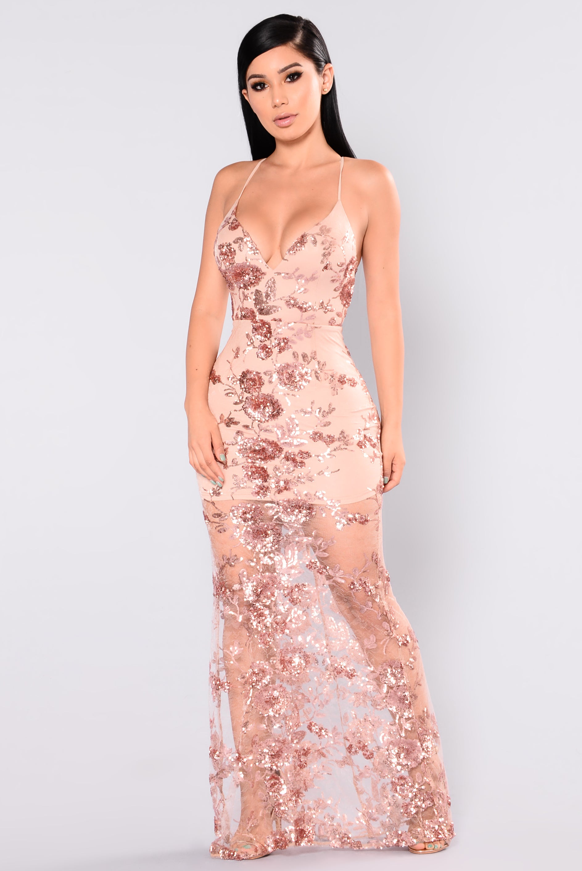 Sequin Dress - Rose Gold