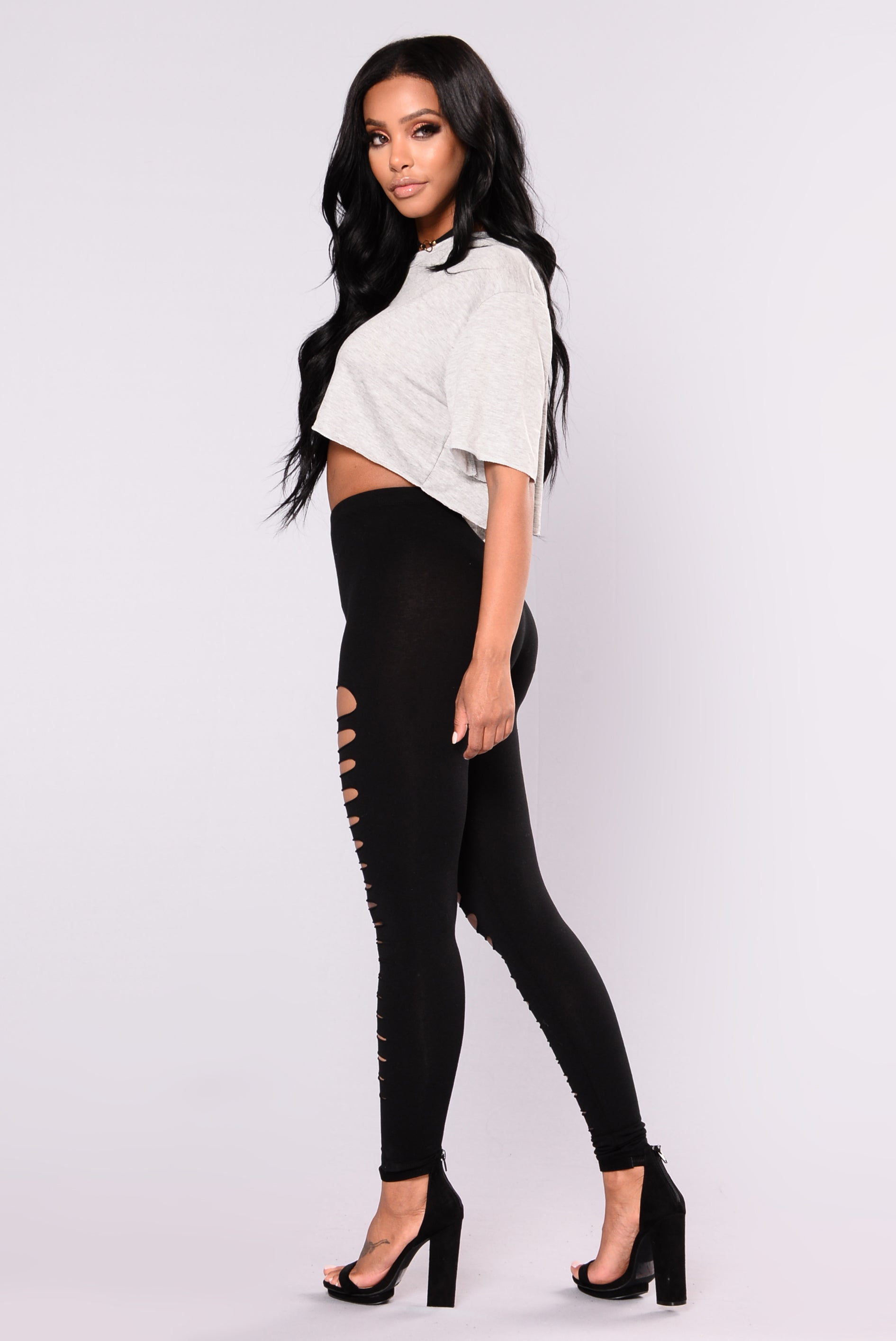 Carine Distressed Leggings - Black