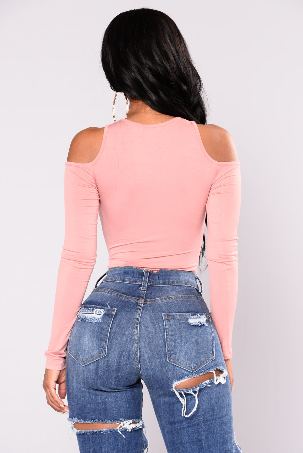 Zoie Cold Shoulder Bodysuit - Rose