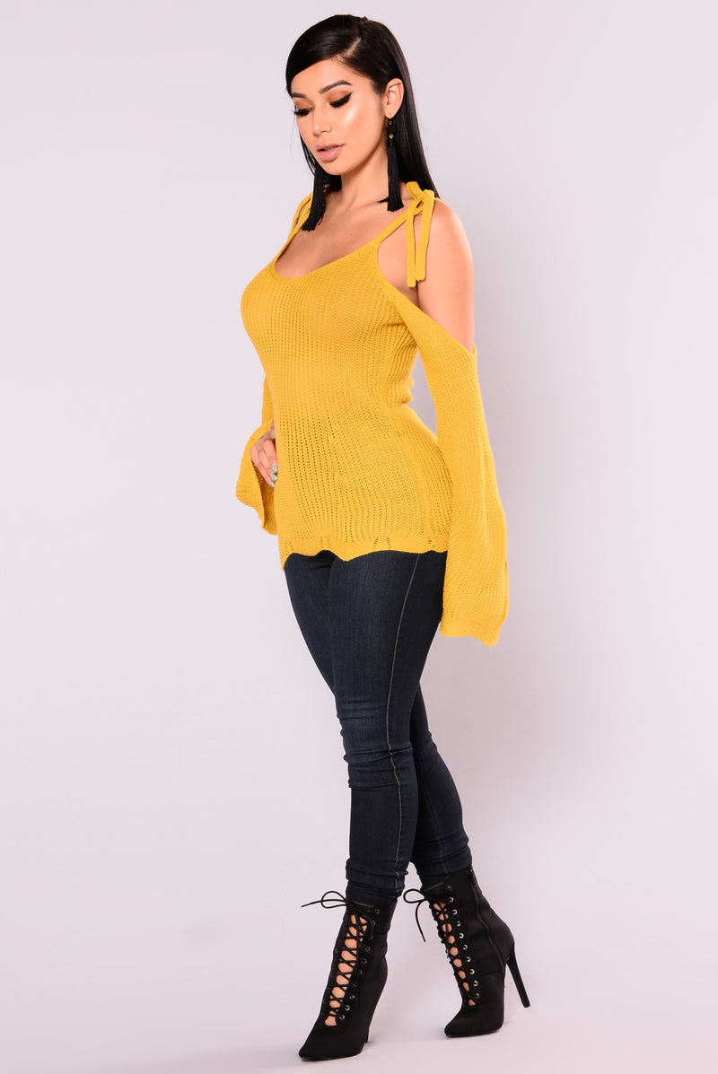 Halley Cold Shoulder Sweater - Mustard
