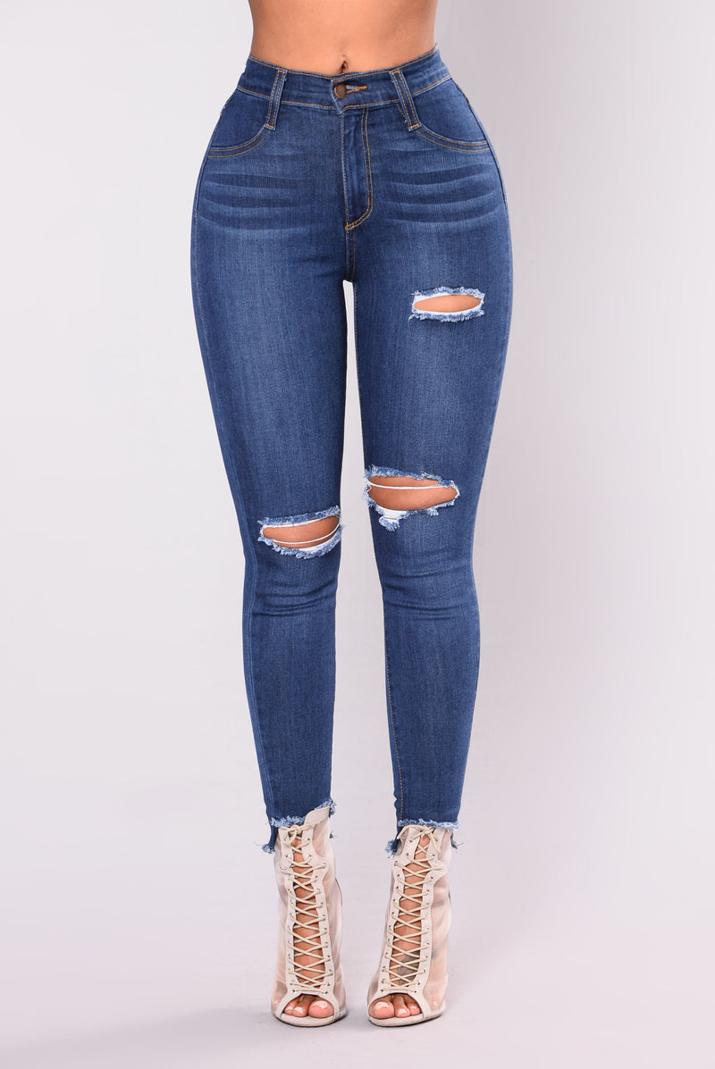 A Little Privacy Distressed Jeans - Medium Blue