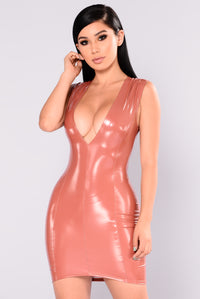 Kristen Latex Dress - Mauve
