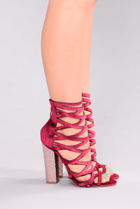 Christen Caged Heel - Wine