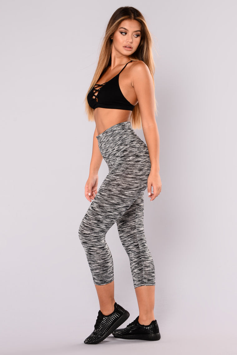 Heathered Two Toned Active Leggings - Black/White