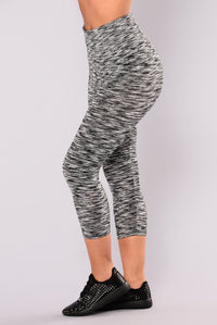 Heathered Two Toned Active Leggings - Black/White Angle 3