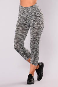 Heathered Two Toned Active Leggings - Black/White Angle 1