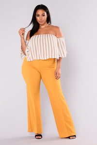 Victoria High Waisted Dress Pants - Mustard Angle 7