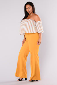 Victoria High Waisted Dress Pants - Mustard Angle 10