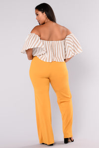 Victoria High Waisted Dress Pants - Mustard Angle 9