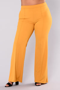 Victoria High Waisted Dress Pants - Mustard Angle 8
