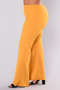 Victoria High Waisted Dress Pants - Mustard Angle 12
