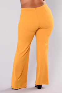Victoria High Waisted Dress Pants - Mustard Angle 11