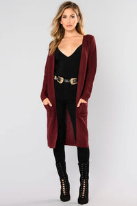 Abella Duster Sweater - Burgundy Angle 1