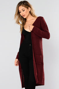 Abella Duster Sweater - Burgundy Angle 3