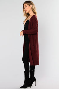 Abella Duster Sweater - Burgundy Angle 5