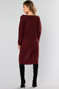 Abella Duster Sweater - Burgundy Angle 4