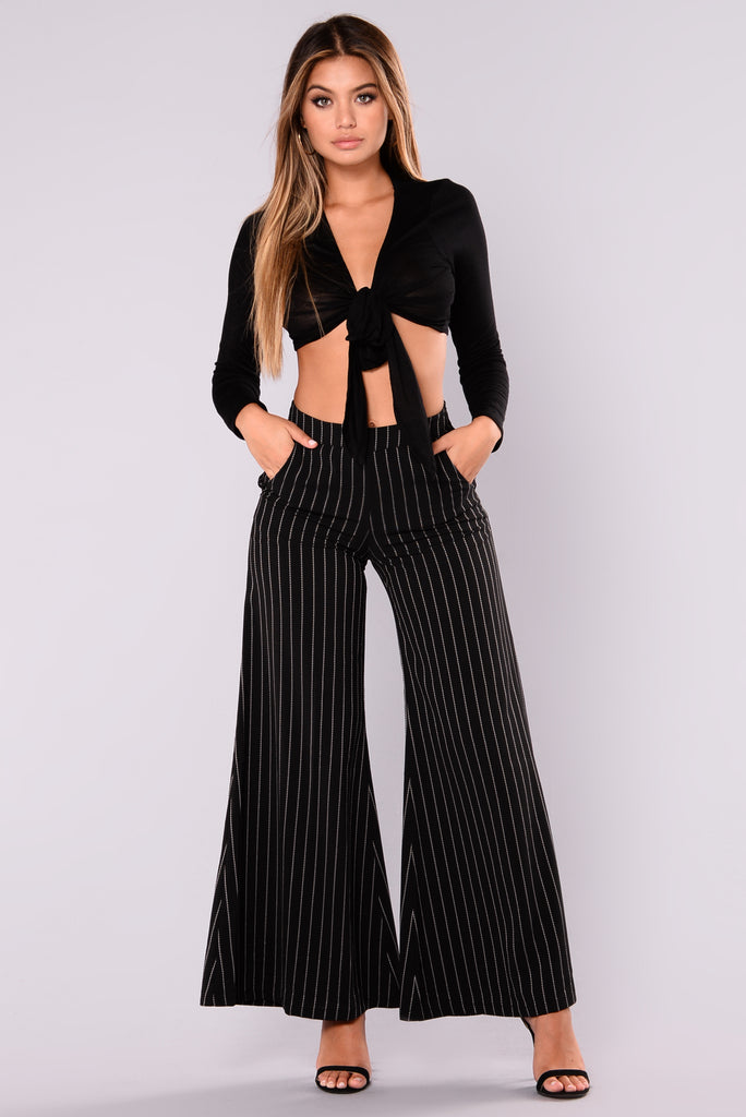 Skylar High Waisted Flare Pants Black White
