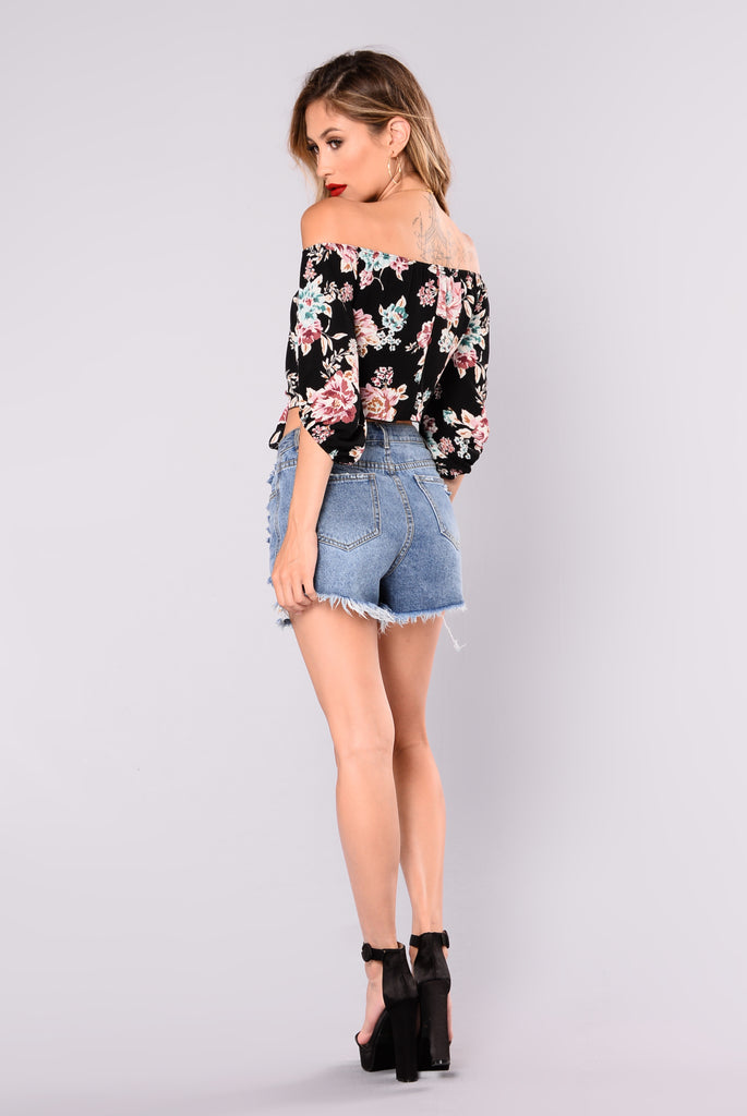 Vallerie Floral Off Shoulder Top - Black
