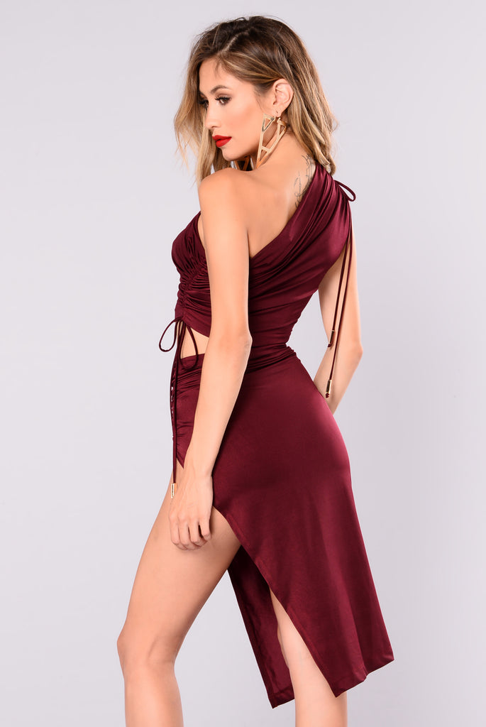 Shona Side Slit Set - Burgundy