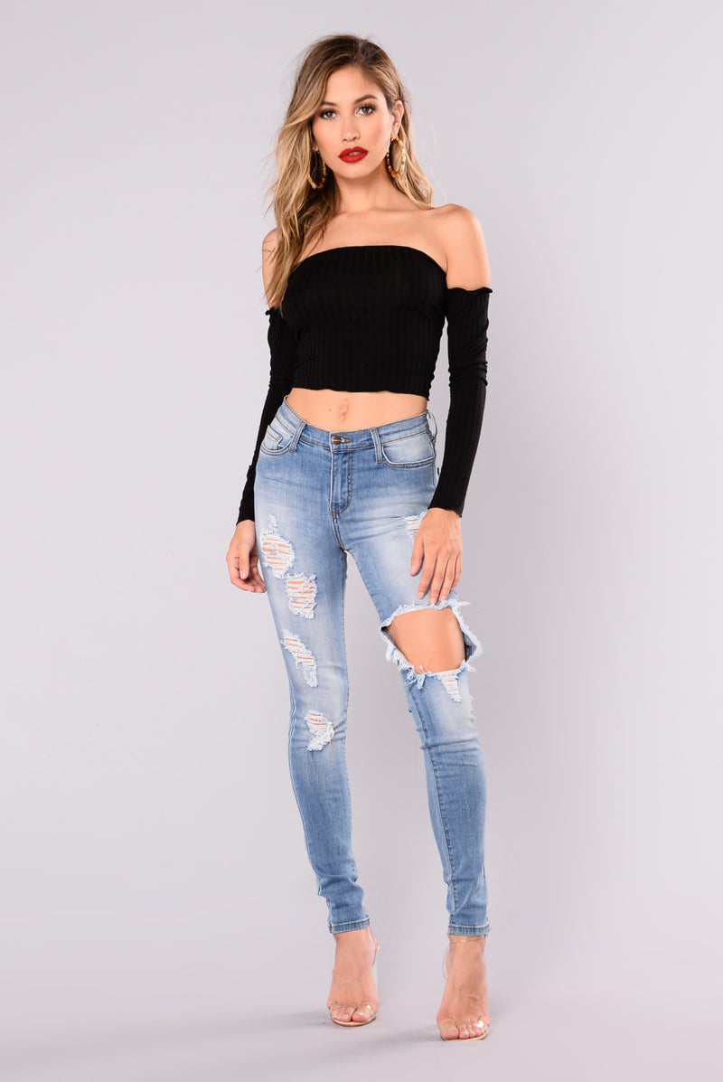 Veronica Off Shoulder Top - Black