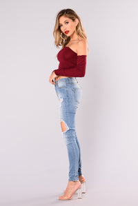 Veronica Off Shoulder Top - Burgundy