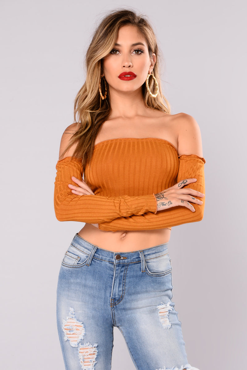 Veronica Off Shoulder Top - Mustard