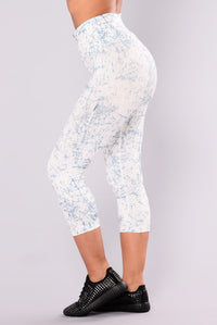 Cracked Marble Active Leggings - White/Slate