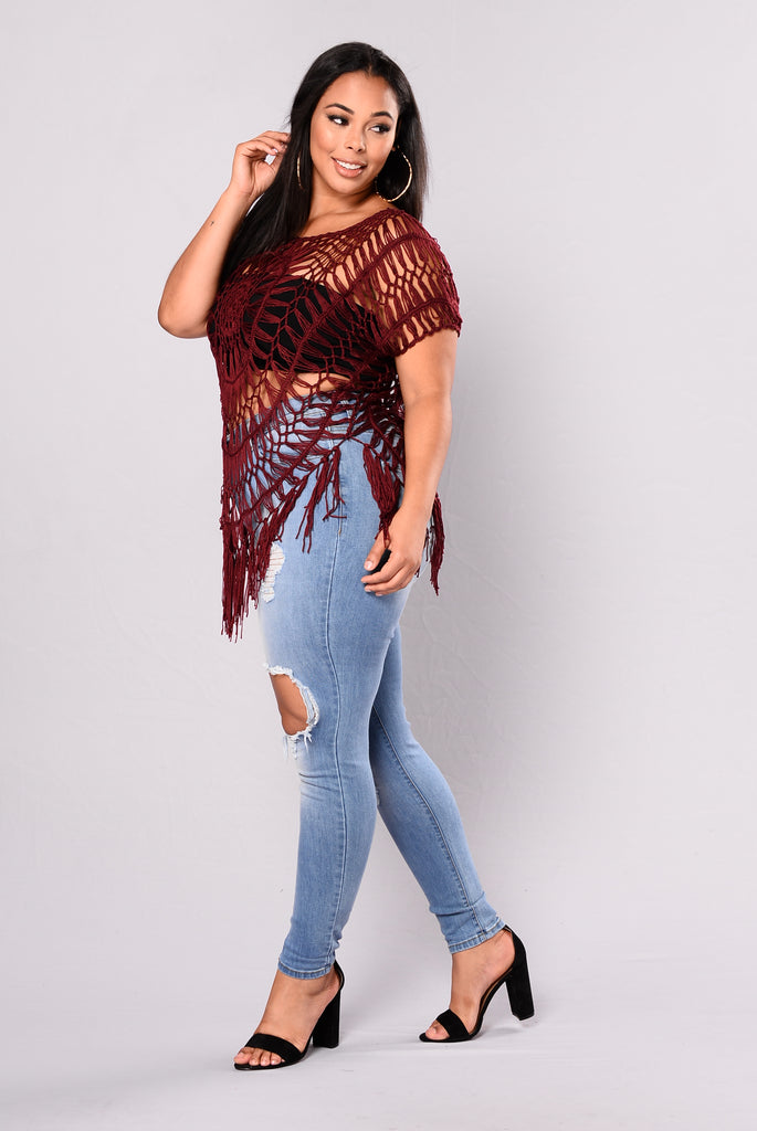 Dancing In The Full Moon Tunic - Burgundy