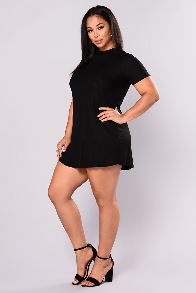 Pretty Eyes Ribbed Dress - Black