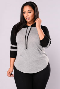Who's That Gal Sweater Top - Grey