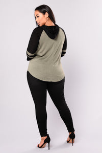 Who's That Gal Sweater Top - Olive