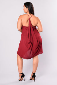 Rufflin' Around Dress - Burgundy