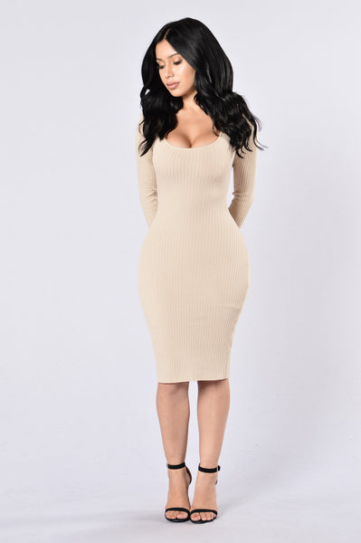 The Hottest Ex Dress - Khaki