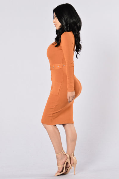 Minimal Effect Dress - Pumpkin