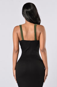 Simply Sweet Dress - Olive/Taupe/Black