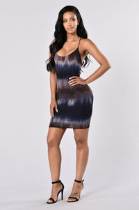 Dye For You Dress - Navy/Brown