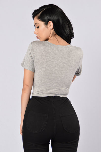 Tied In Trouble Tee - Heather Grey