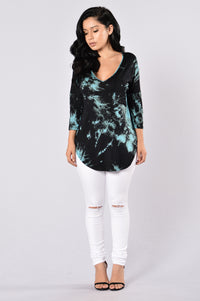 Need Therapy Tie Dye Top - Teal