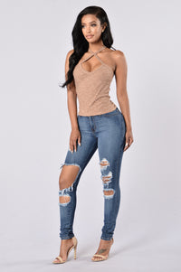 Out Of The Park Tank Top - Taupe Angle 5