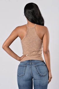 Out Of The Park Tank Top - Taupe Angle 2